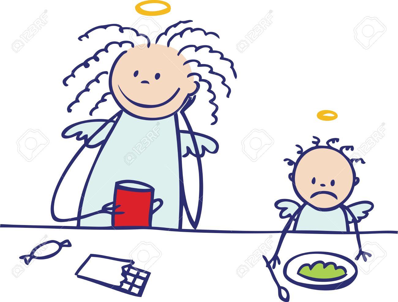 Moms are not angels  enjoying coffee-break Stock Vector - 15732503