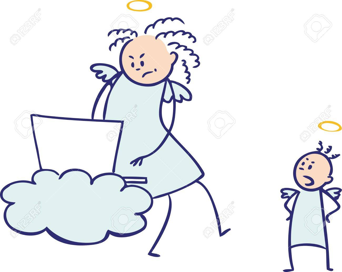 Moms are not angels  working again, colored Stock Vector - 15732497