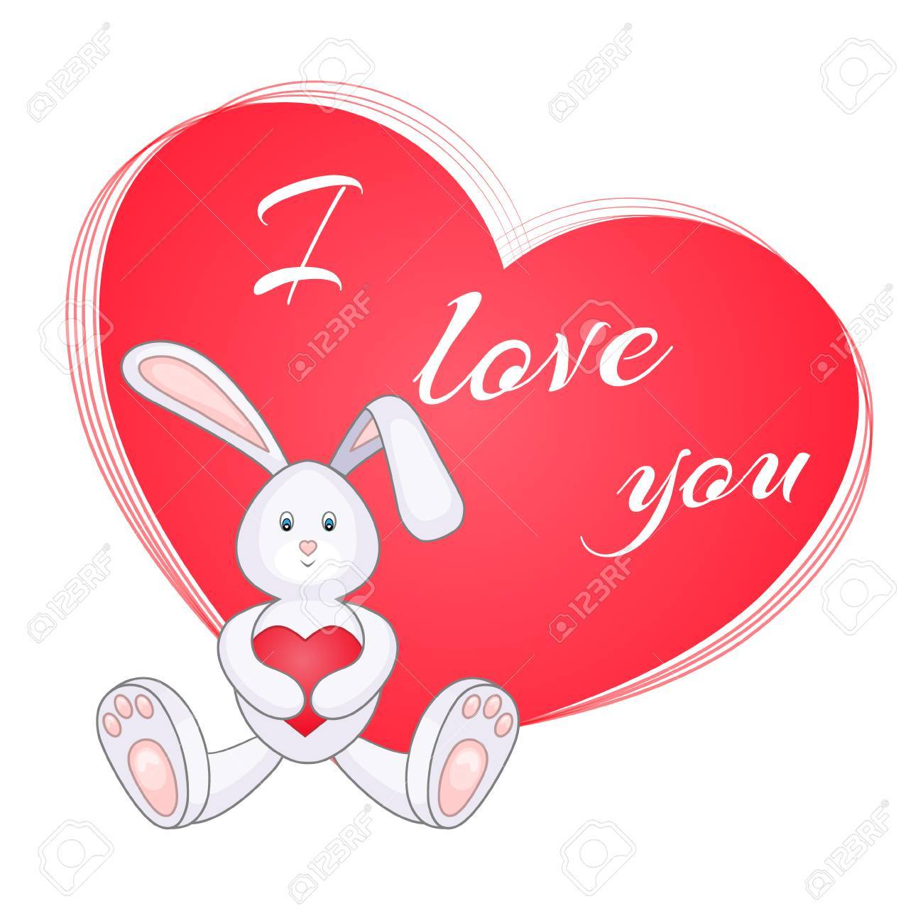 cute little bunny with red heart valentine card i love you