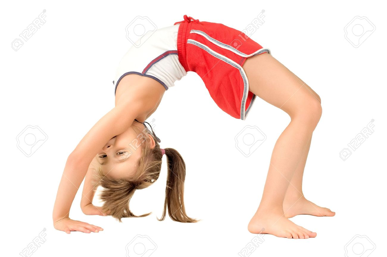little children girl  to arch the back,  head over heels o, on white background, isolated Stock Photo - 8001951