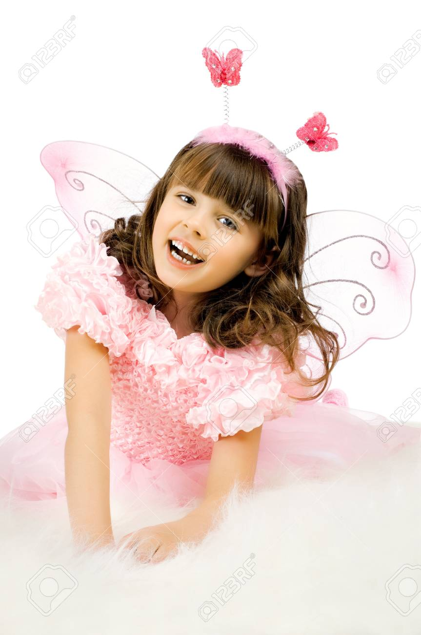 beautiful  little girl with wings, sit and  smile on white background, isolated Stock Photo - 8458830