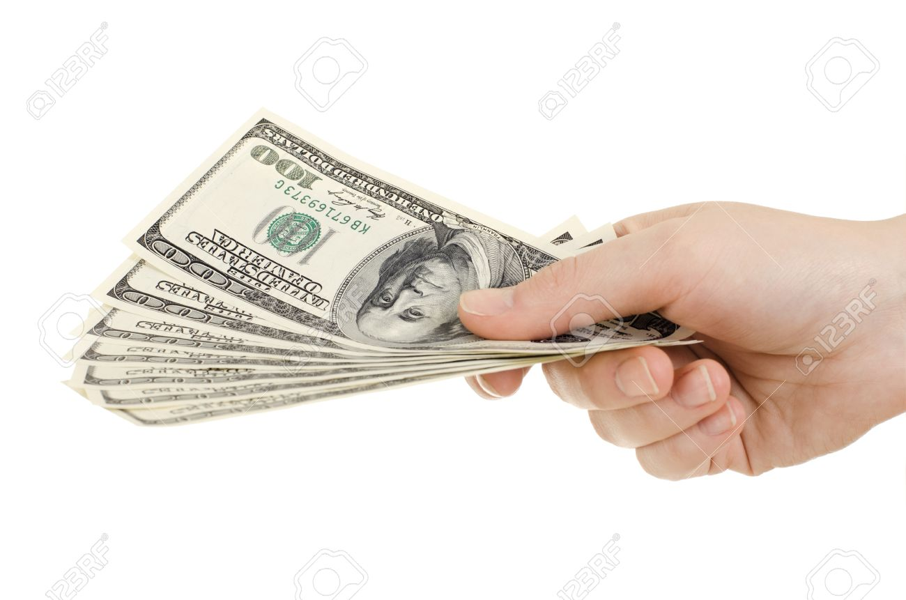 cash currency note dollar in hand on white background isolated