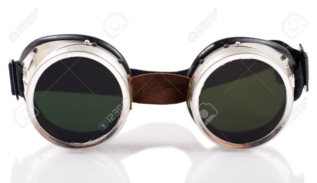 blak  welded protective spectacles on white background isolated, close up Stock Photo - 14897147