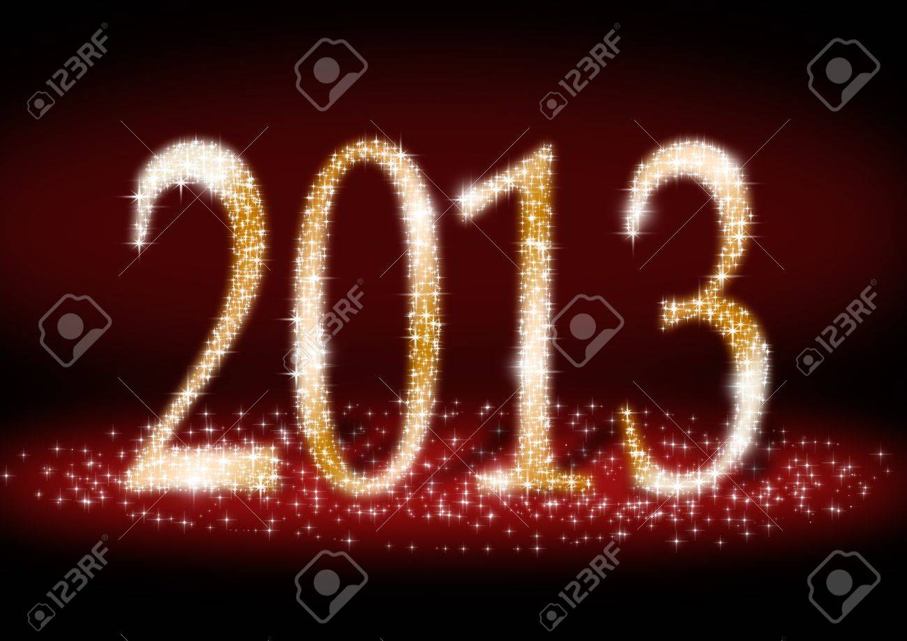 Date New Year 2013  of sparkle light on dark red background Stock Photo - 15719072