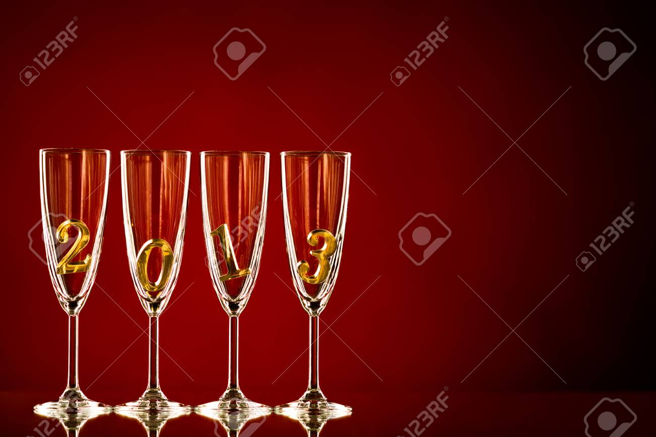 four glass goblet with champagne and  numeral 2013,  beautiful celebrations  New Year concept photo Stock Photo - 16261172