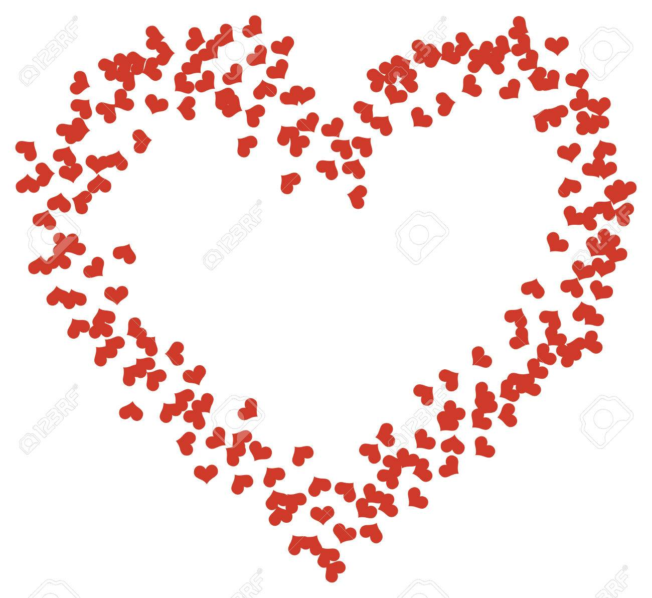 Ein Großes Herz Aus Vielen Kleinen Herzen, Auf Weißem Hintergrund ...