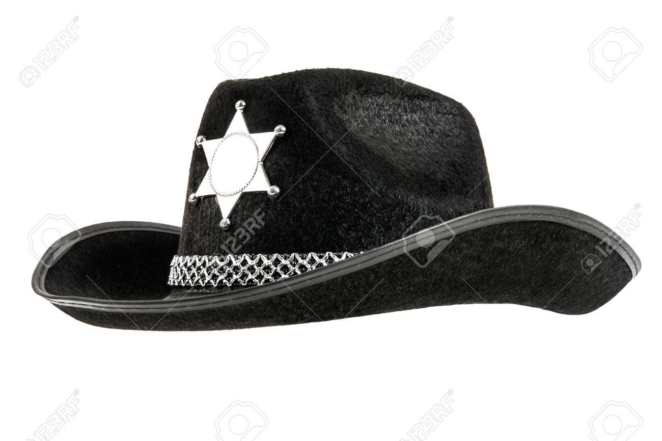 522bceeb one black sheriff cowboy hat, from one side, on white background; isolated  Stock