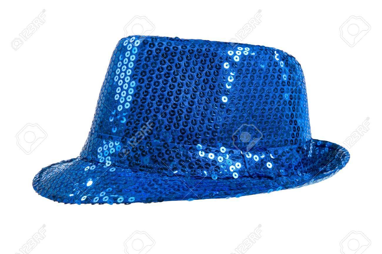 sensation de confort Baskets 2018 style classique de 2019 Un brillant de fête chapeau bleu, d'un côté, sur fond blanc; isolé