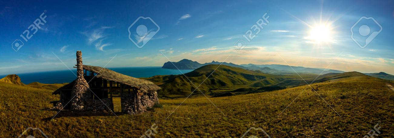 beauty nature landscape crimea mountain field and the old