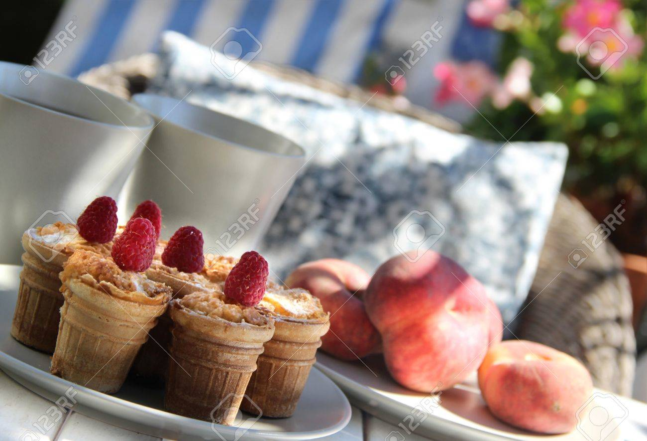 Tasty waffles and beautiful rich decorated terrace Stock Photo - 17451936