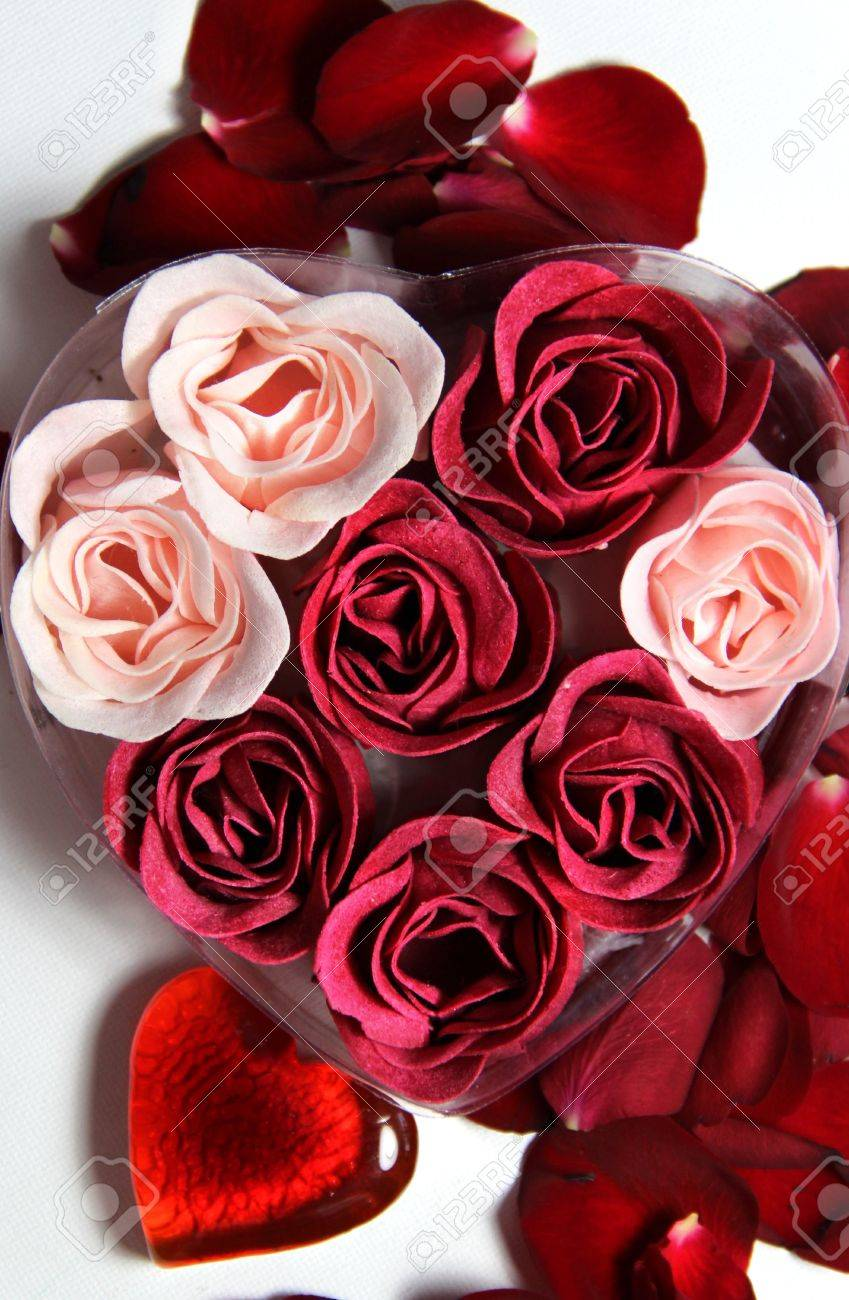 beautiful valentine composition of hearts and roses stock photo, Natural flower