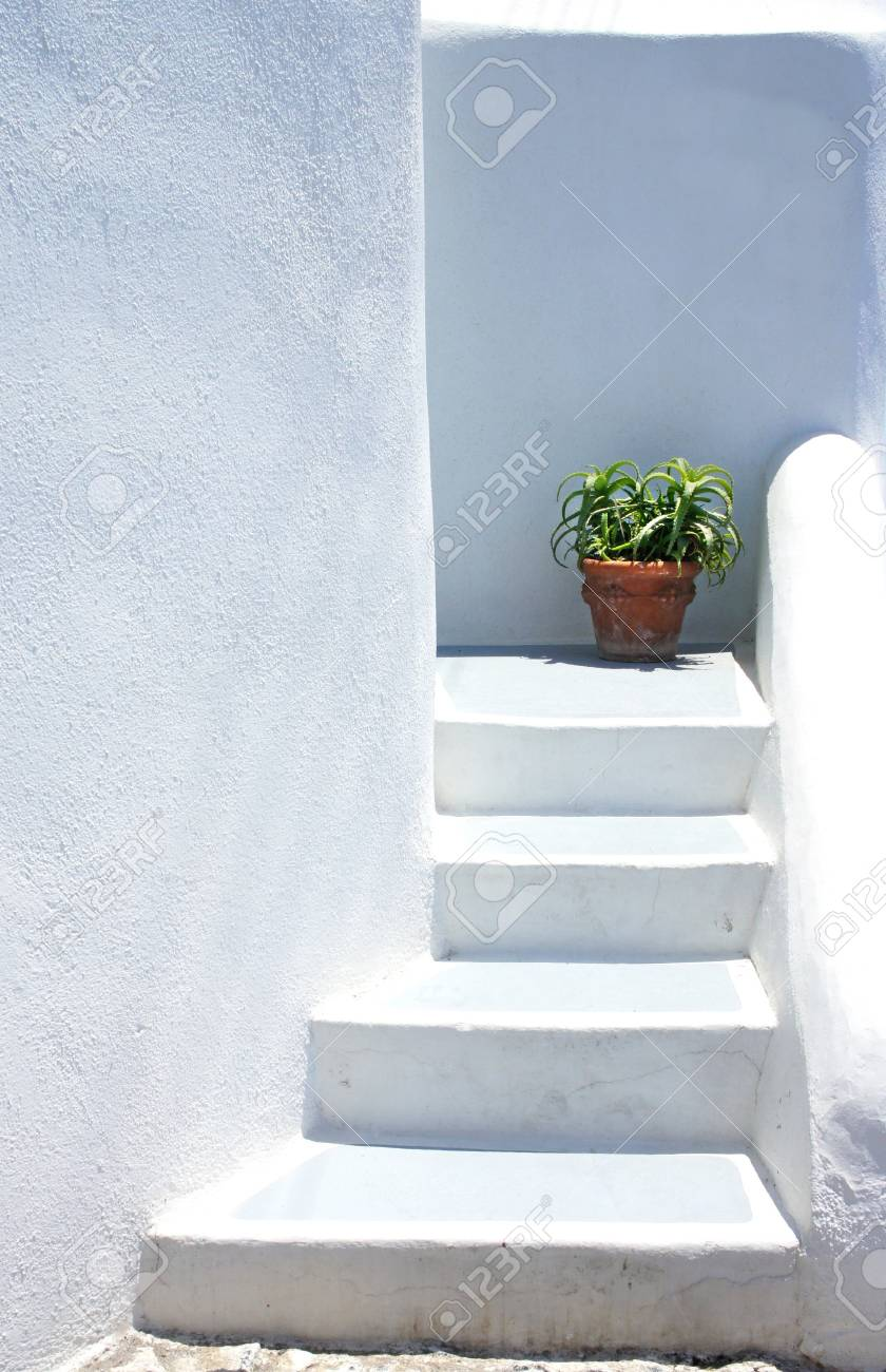 Houses of Santorini in details, pot with flower on the stairs Stock Photo - 18836449