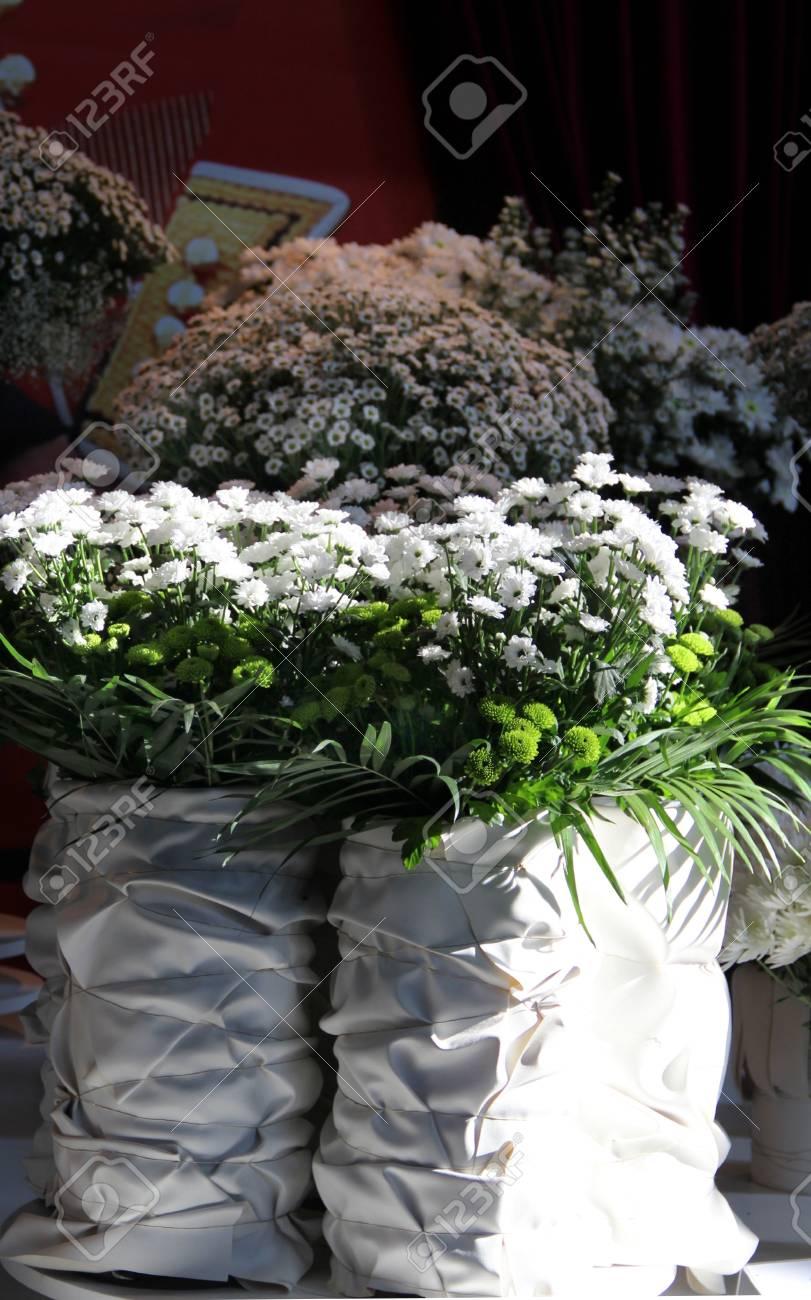 Big Mix Of Amazing White Wedding Flowers In Vases Stock Photo
