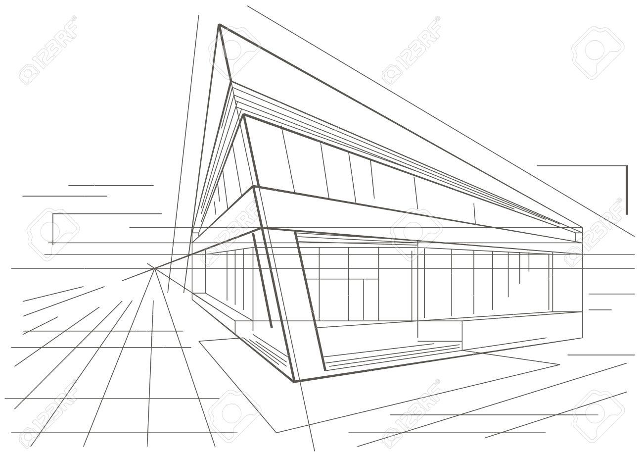Architekturskizze Des Modernen Eckgebaude Standard Bild
