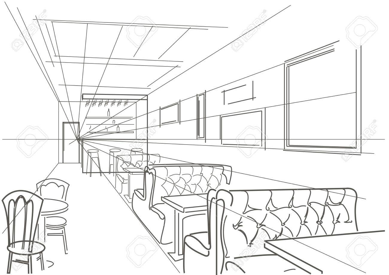 Cafe drawing interior - Vector Linear Interior Sketch Of Cafe