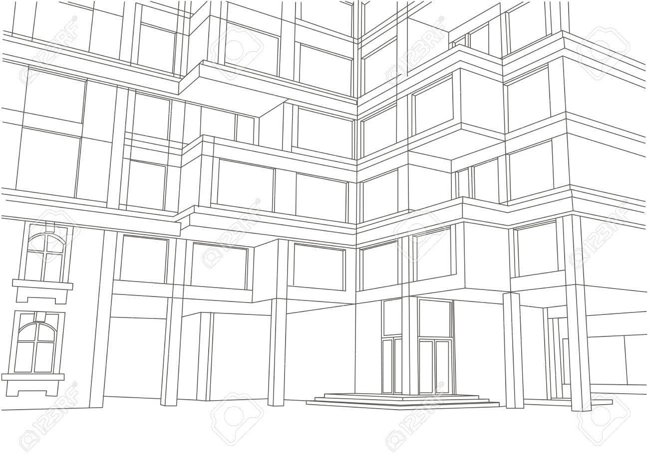 Architekturskizze Grosse Wohnung Gebaude Mit Balkons Standard Bild