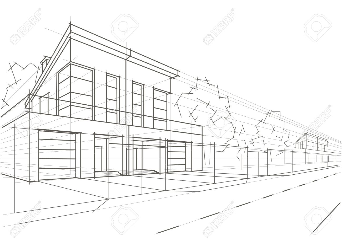 architecture houses sketch. Linear Architectural Sketch Blocked Houses Stock Vector - 42700817 Architecture