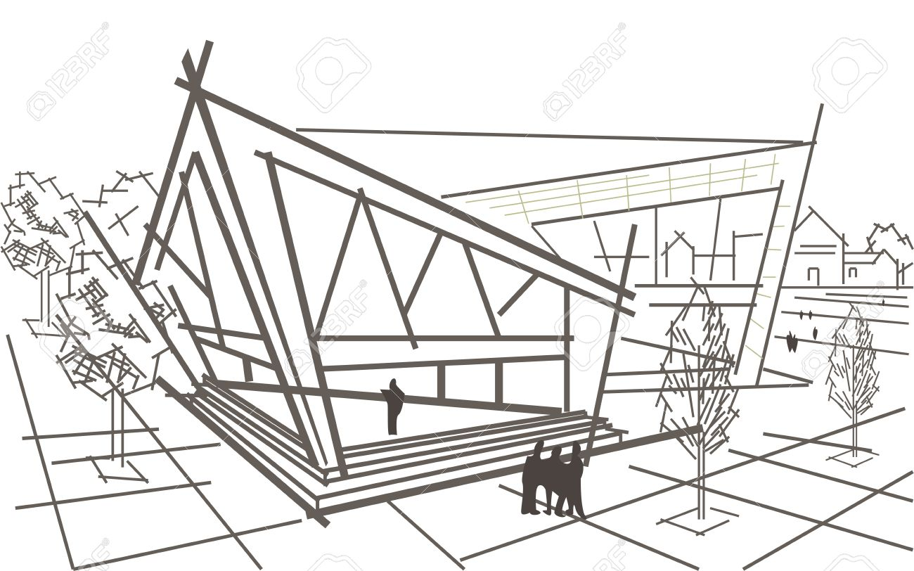 Linear Architekturskizze Modernen Abstrakten Eckgebaude Standard Bild