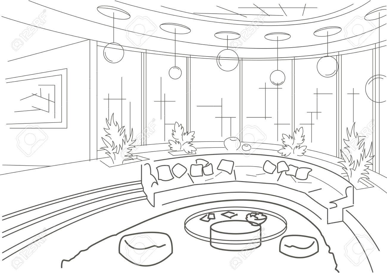 Sketch Interior Of A Round Living Room With Podium Royalty Free ...