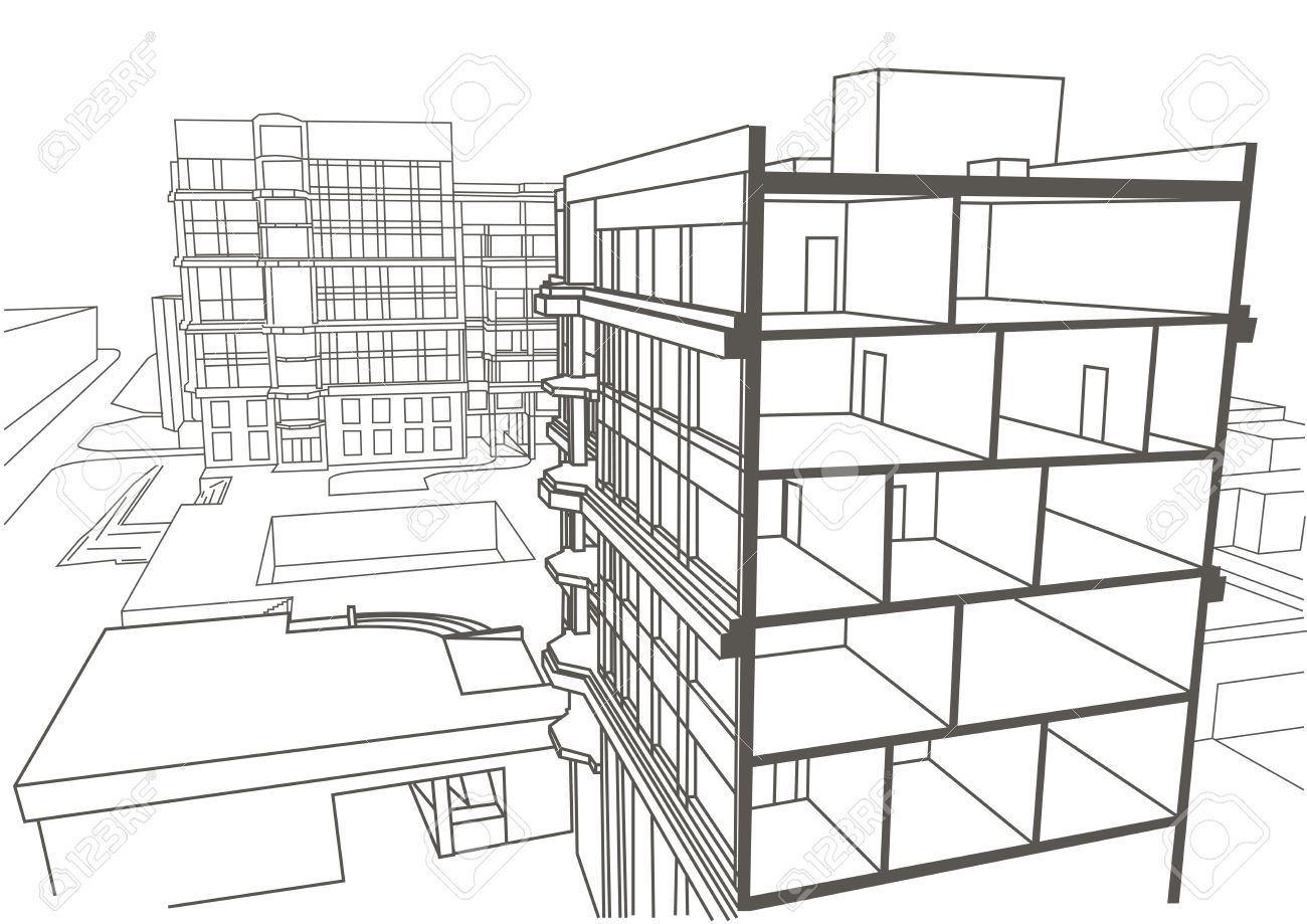 Architectural Linear Sketch Multistory Apartment Building Sectional Drawing Stock Vector