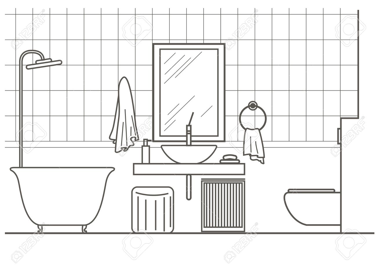 Architectural Linear Sketch Bathroom Interior Front View Royalty - Drawing of bathroom
