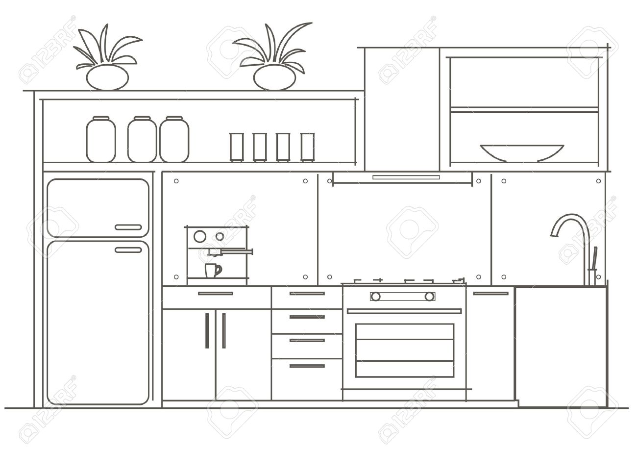 Architectural linear sketch interior small kitchen front view stock vector 44671171