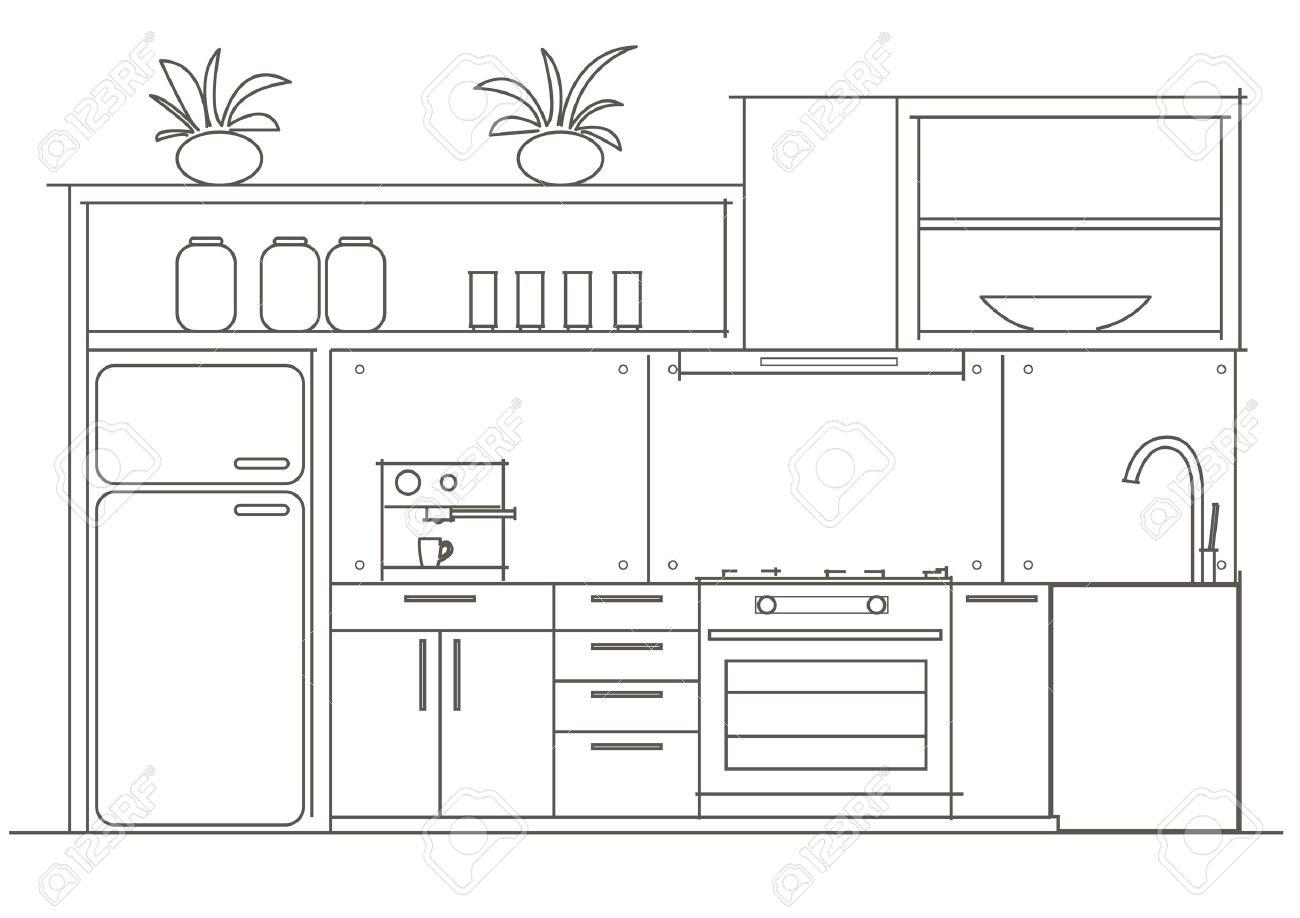 architettura lineare disegno interno piccola cucina vista frontale ... - Disegni Cucine