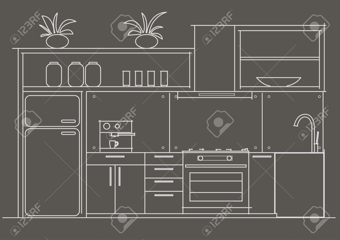 Architektur Lineare Skizze Innen Kleine Kuche Vorderansicht Auf Grauem Hintergrund Lizenzfrei Nutzbare Vektorgrafiken Clip Arts Illustrationen Image 45102022