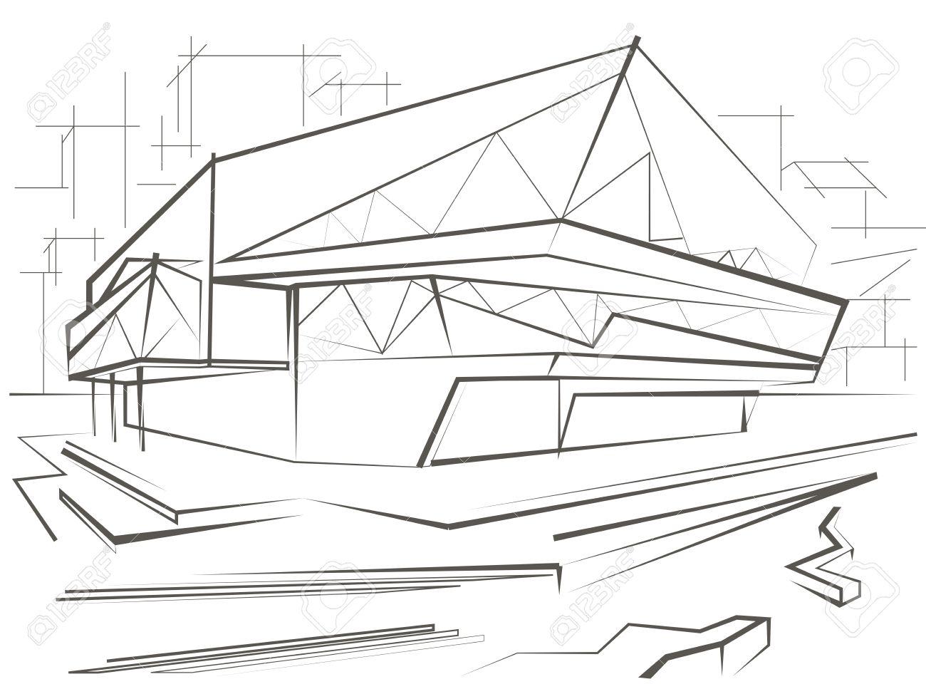 Architektur Lineare Skizze Modernes Gebaude Auf Stadt Hintergrund Standard Bild