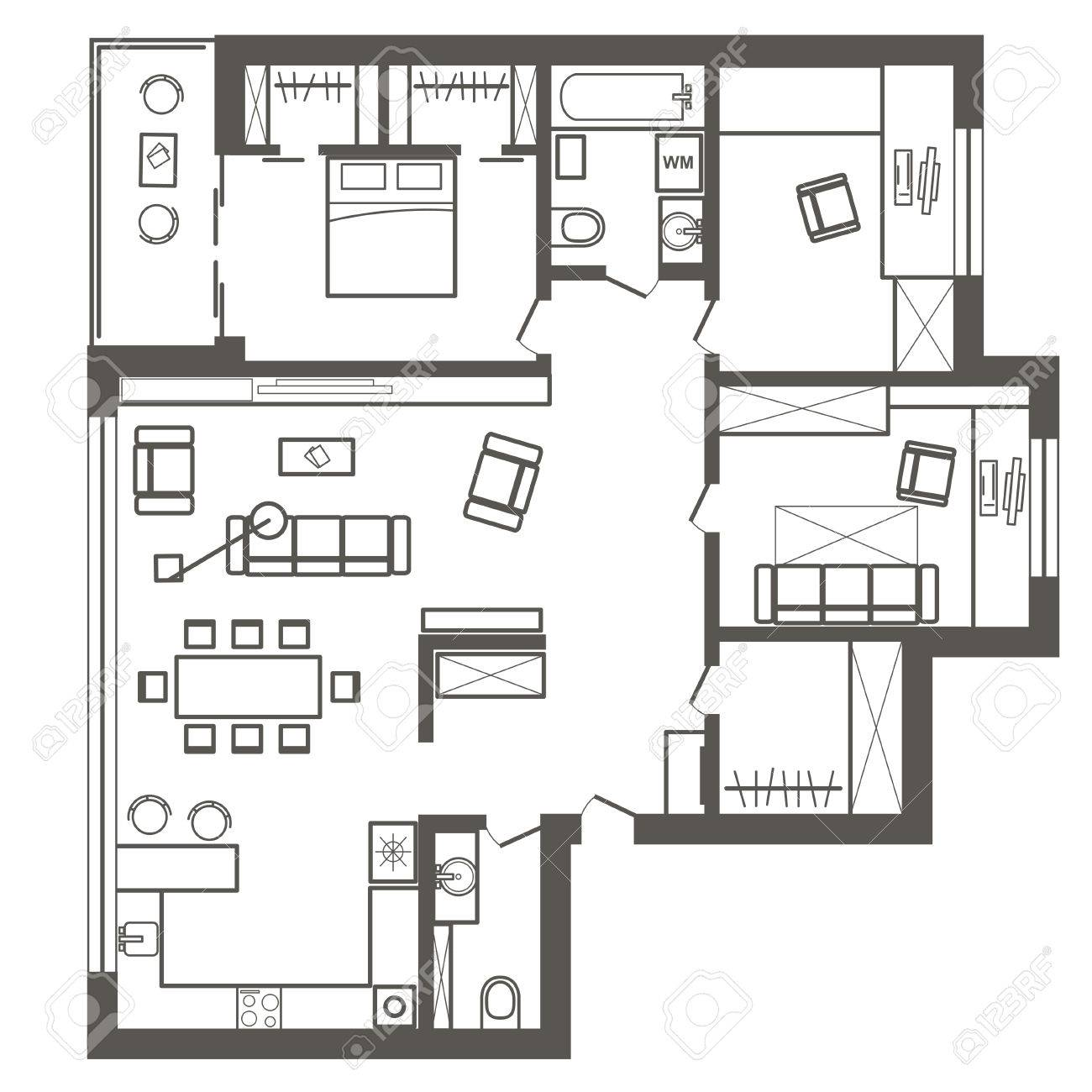 Linear Architectural Sketch Plan Of Three Bedroom Apartment Stock Vector