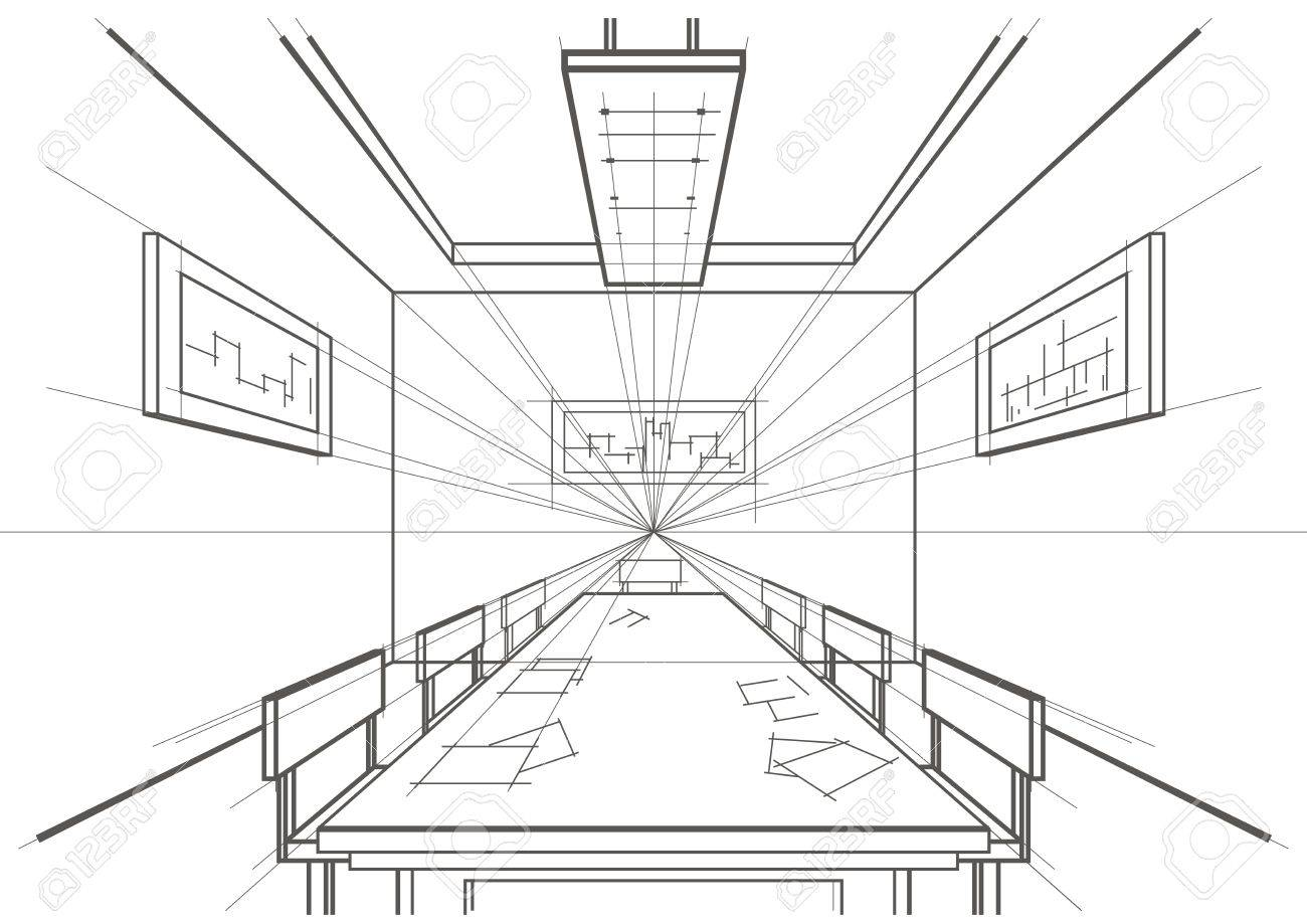 linear architectural sketch interior conference room royalty free