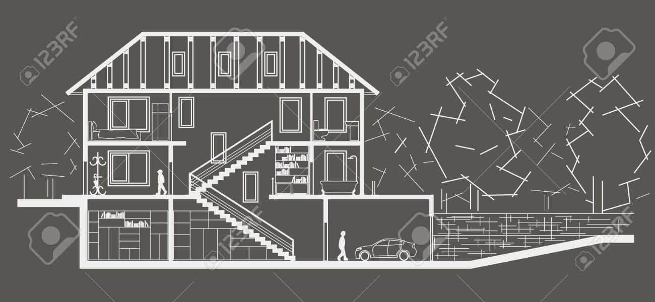 Schnittzeichnung Haus architectural linear sketch tree level house sectional drawing