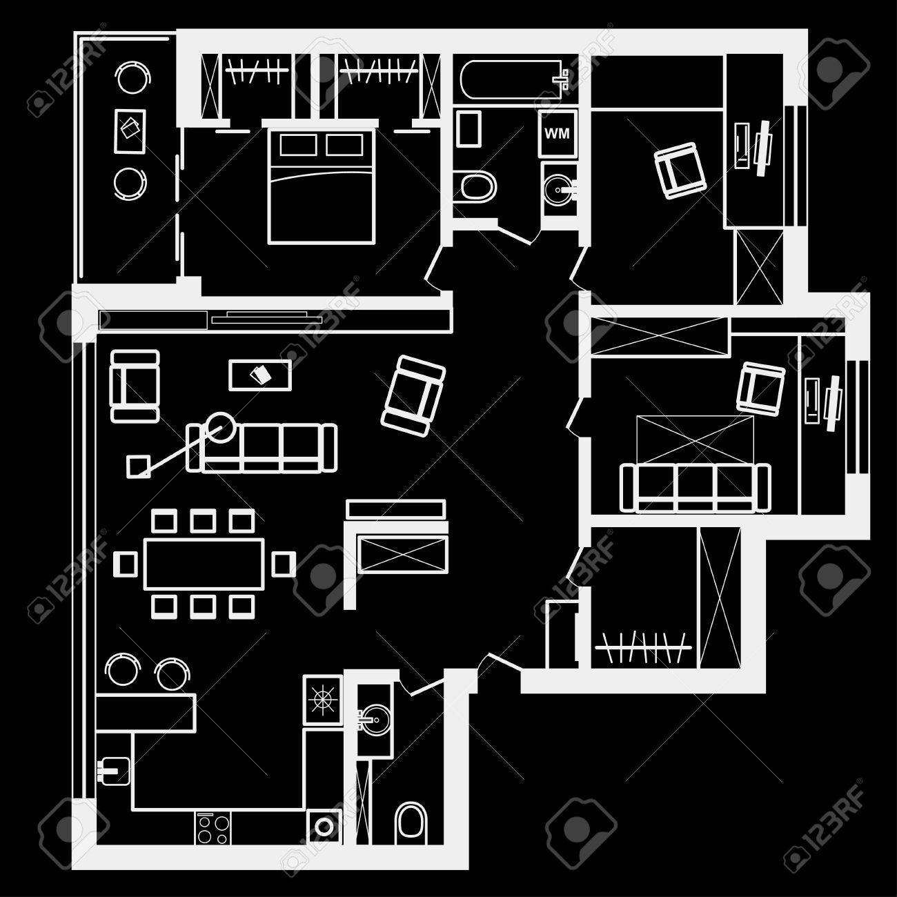 Linear Architectural Sketch Plan Of Three Bedroom Apartment On Black Background Stock Vector
