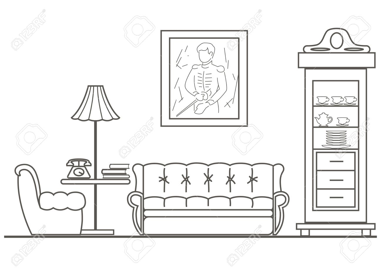 Linear Architectural Sketch Living Room Front View Stock Vector   60743588