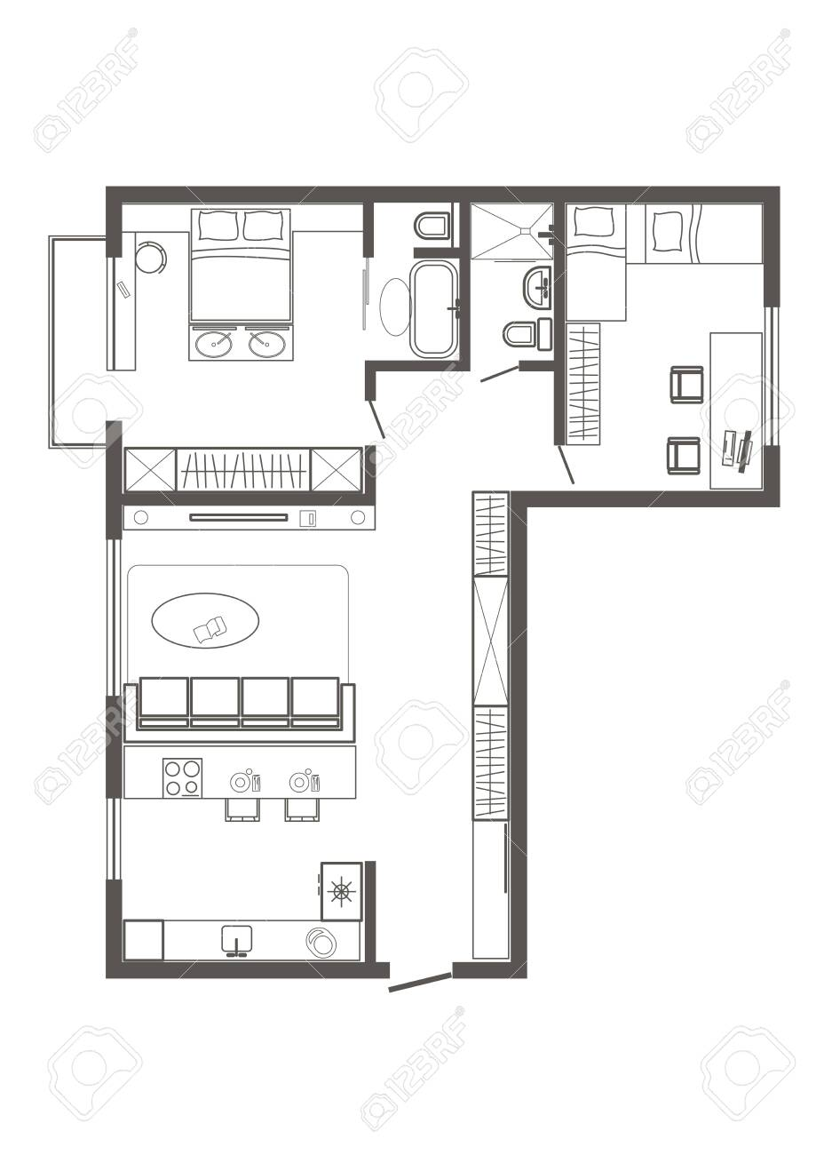 Linear Architectural Sketch Plan Of Standart Two Bedroom Apartment Royalty Free Cliparts Vectors And Stock Illustration Image 128103090