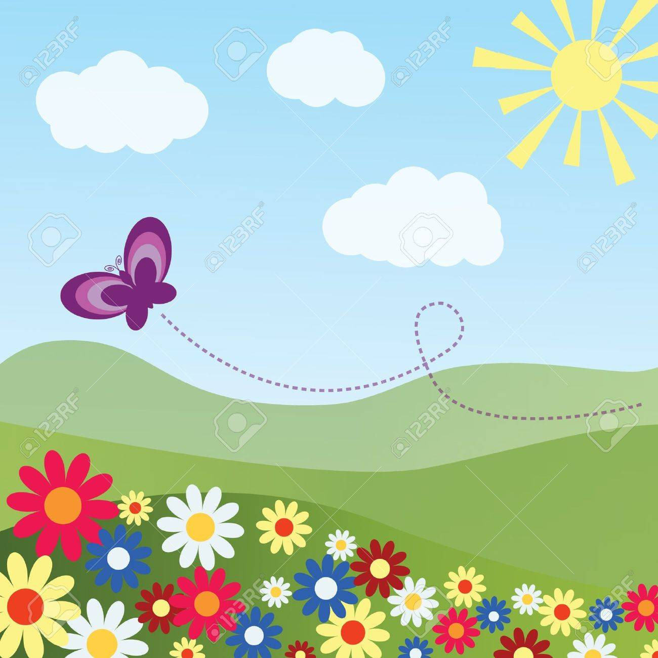 Colorful pastoral landscape with a butterfly Stock Vector - 11660480