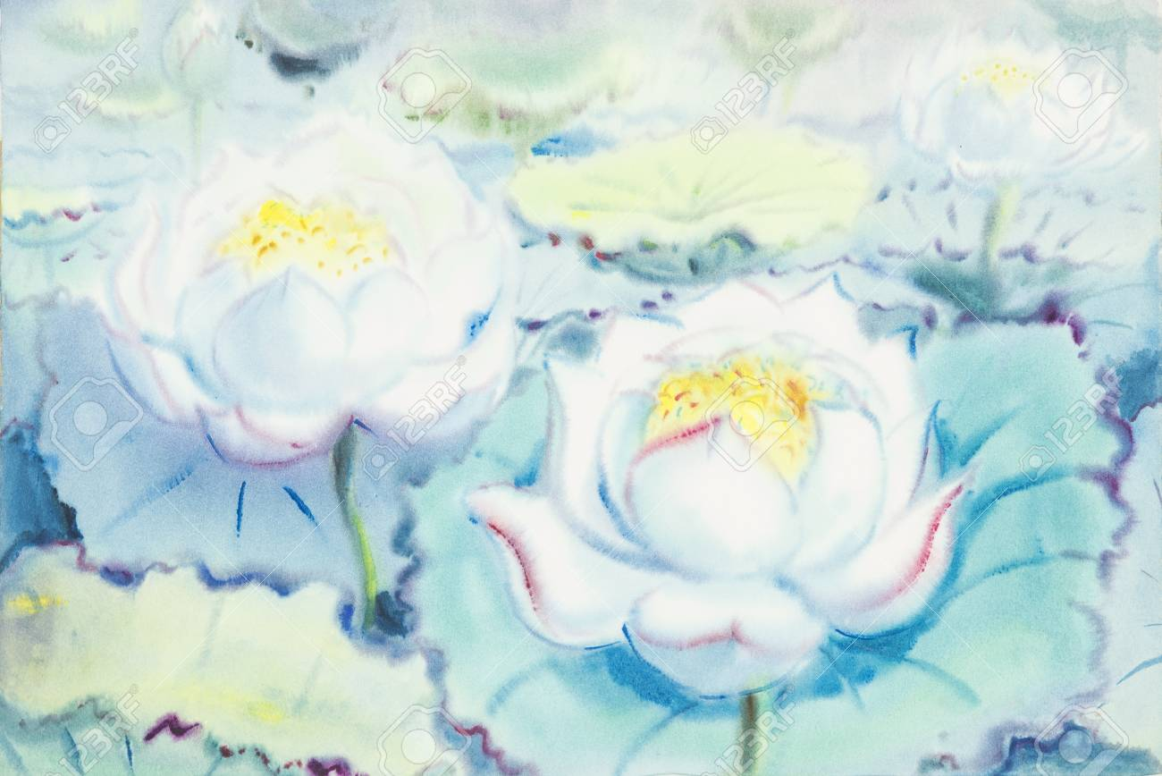 Watercolororiginal Painting White Flowers Of Lotus And Green Stock
