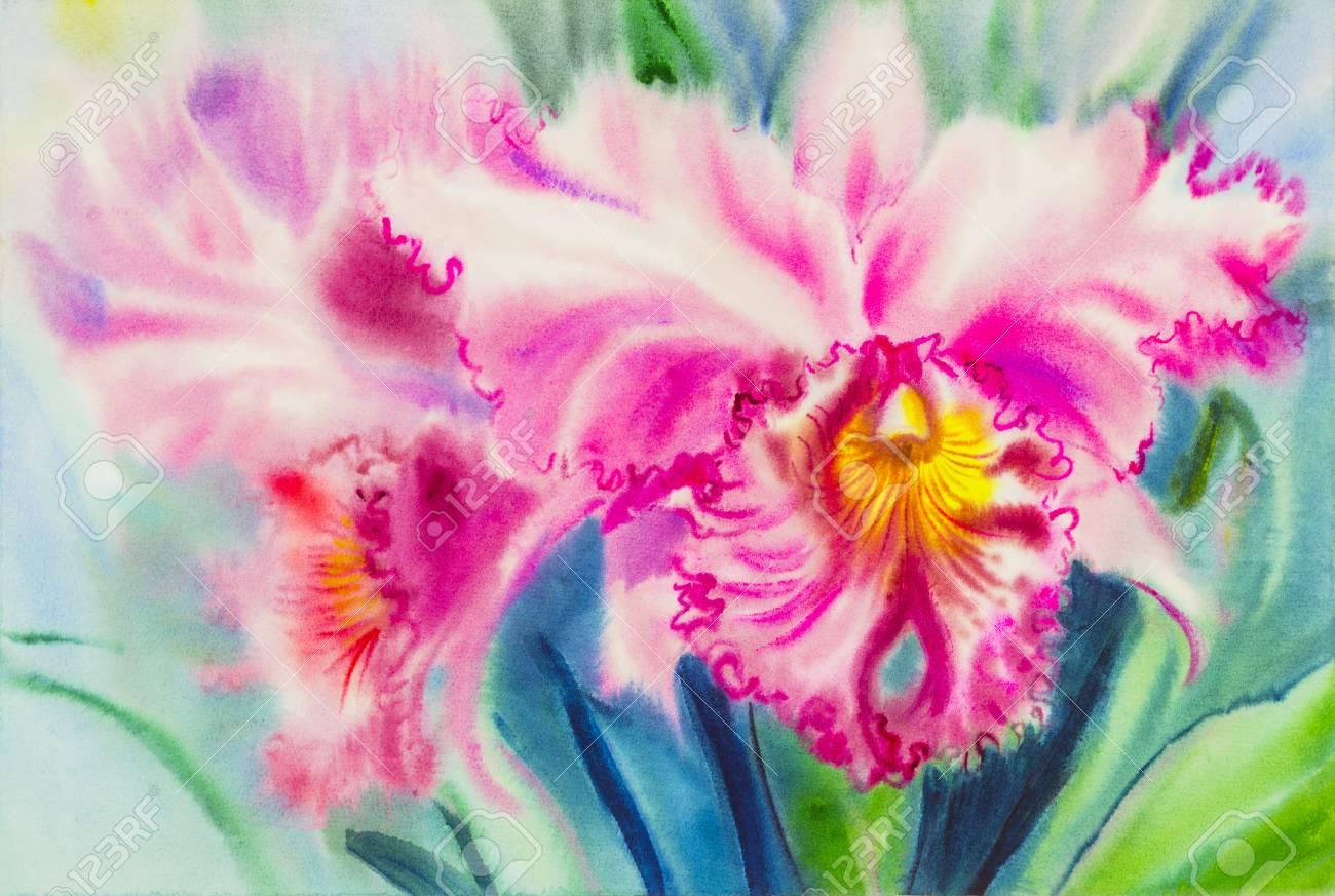 Resume Aquarelle Originale Pourpre Couleur Rose De Fleur D Orchidee