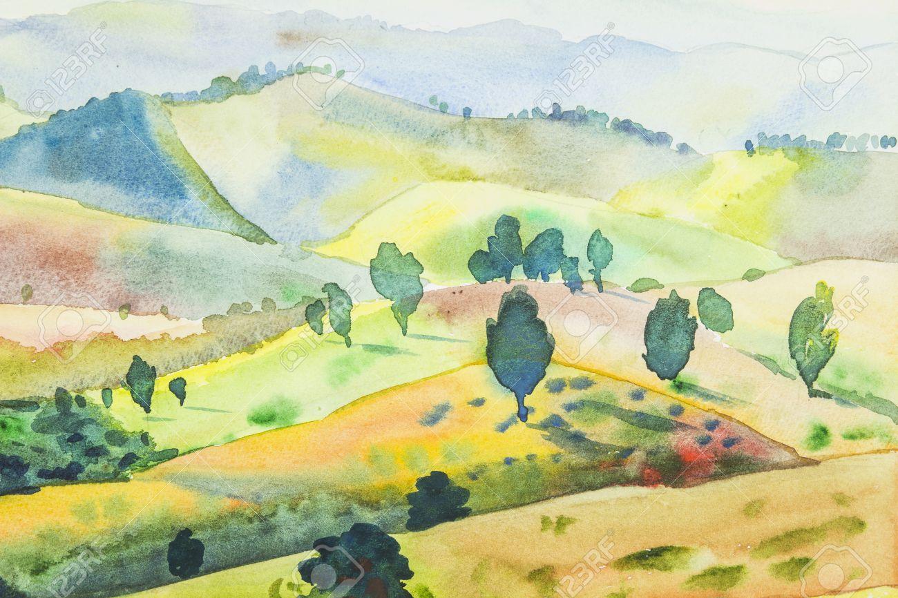 オリジナル水彩絵画花水彩画の背景の風景画花の絵はカラフルな花