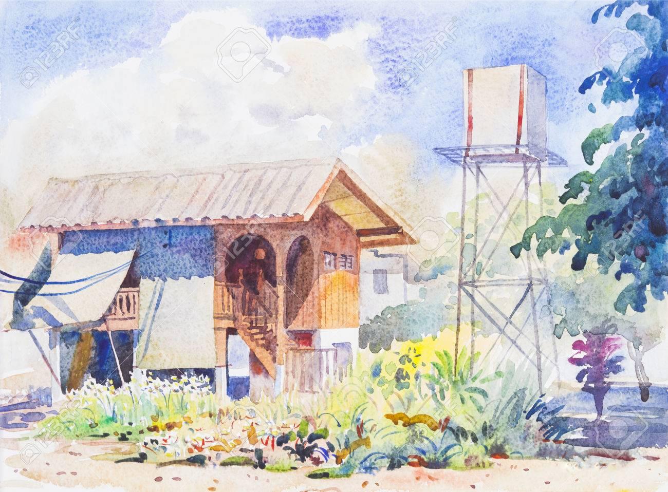 オリジナル水彩画風景画水彩画の背景絵画カラフルな花イラスト