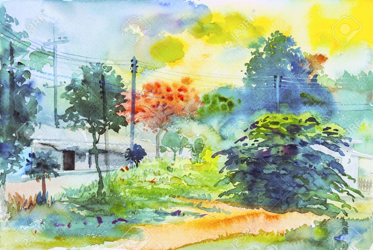 Watercolor Original Landscape Painting Colorful Of Green Tree ...