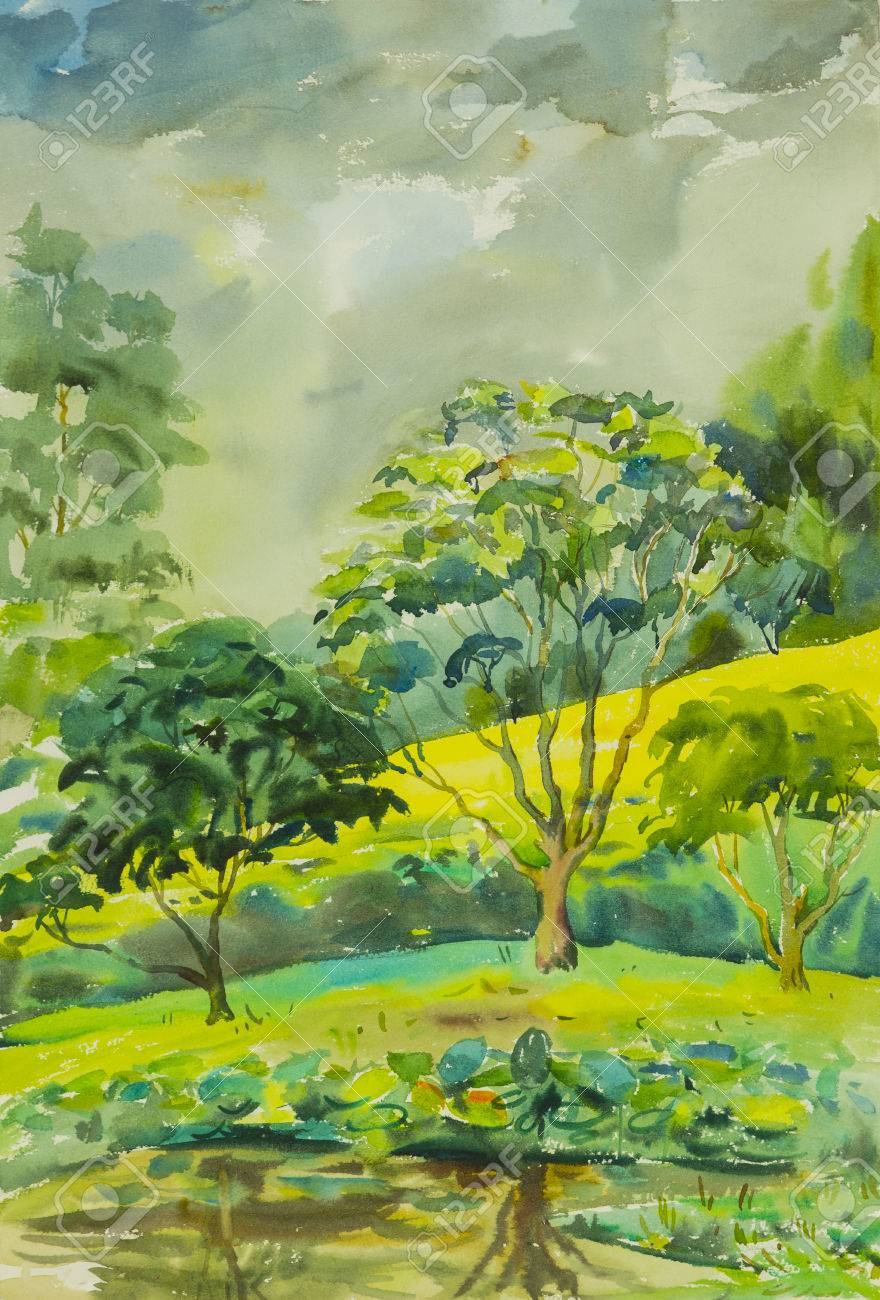 Watercolor Landscape Painting Colorful Of Trees Along The Pond ...