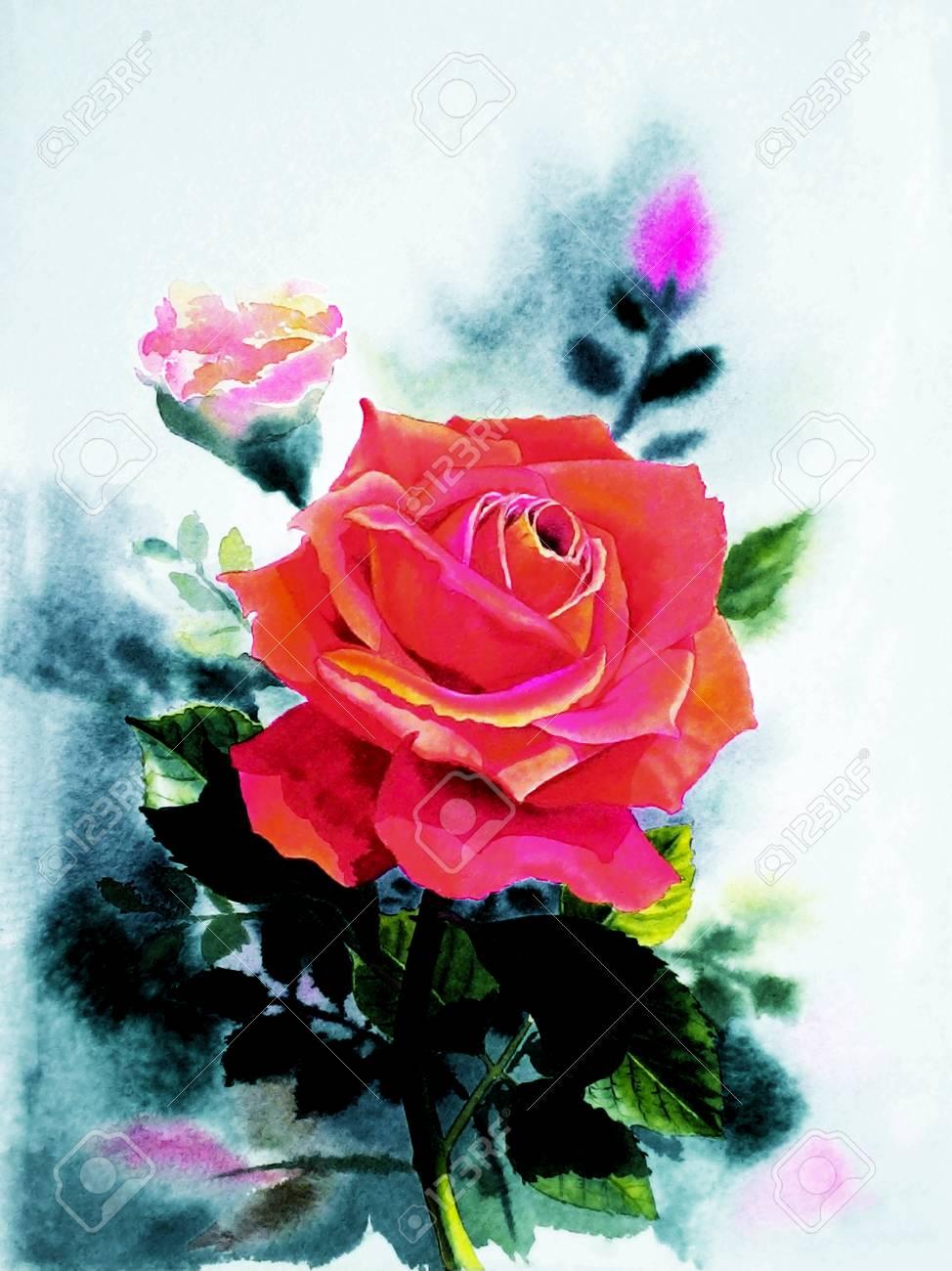 Aquarelle Peinture Originale Realiste Couleur Rouge De Fleur Rose Et