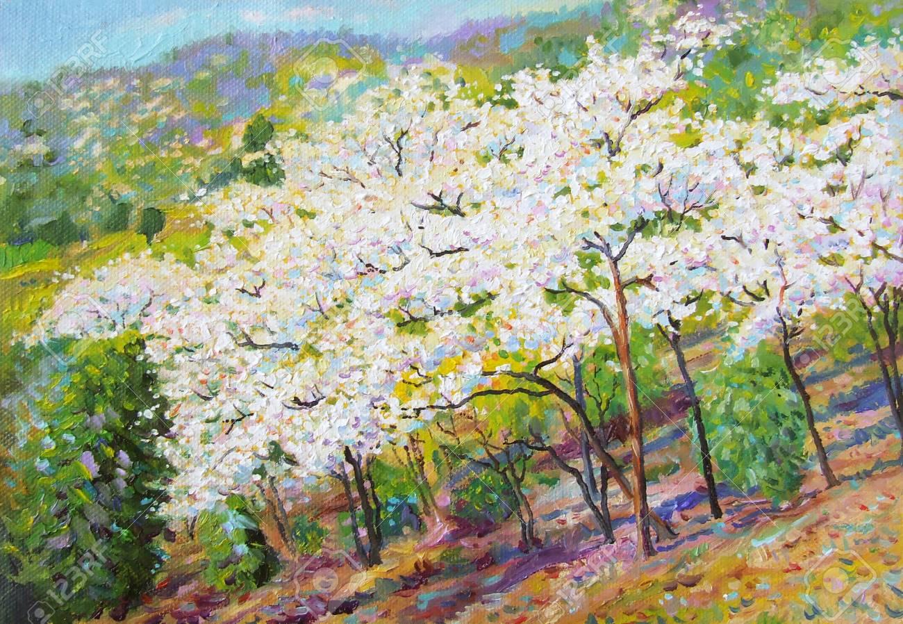 Painting Oil Color Landscape Original Colorful Of White Flower ...