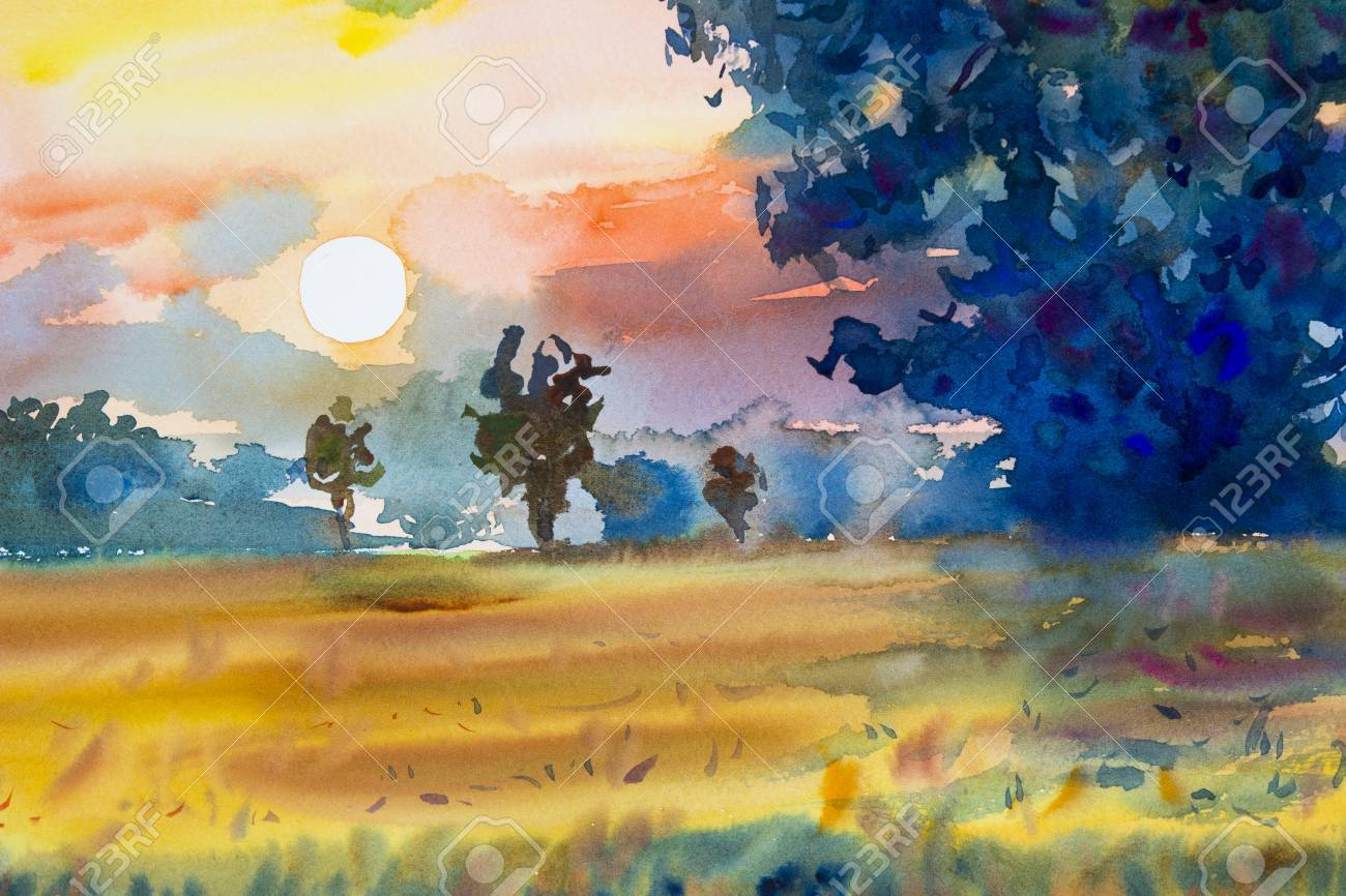Watercolor Painting Original Landscape Colorful Of Rice Field With Big Tree In Sunset And Emotion