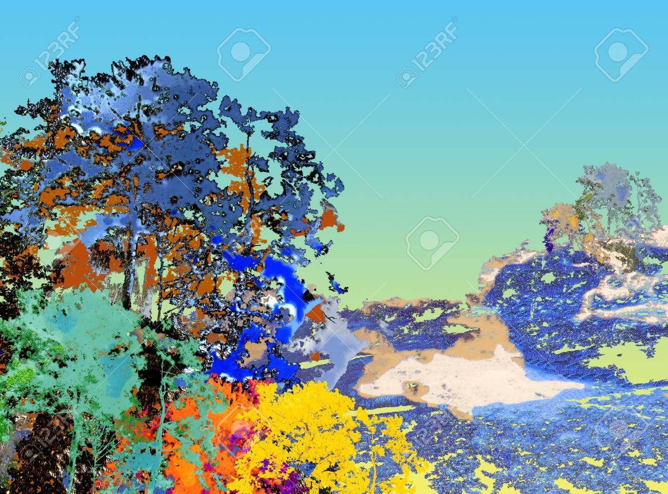 Digital Illustration Painting Texture Colorful Of Big Tree.. Stock ...