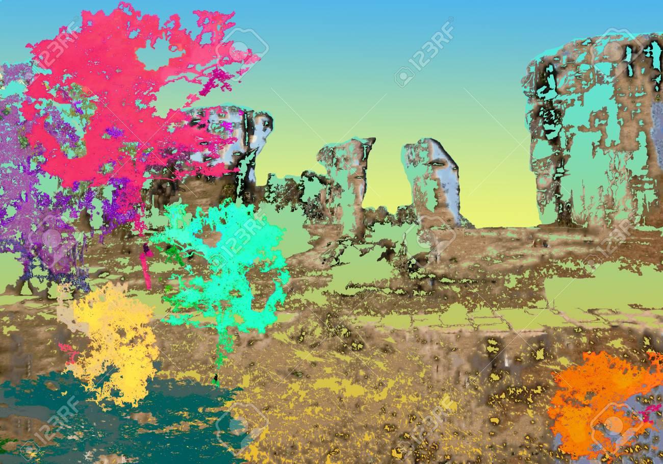 Digital Illustration Painting Texture Colorful Of Big Tree.. Stock ...