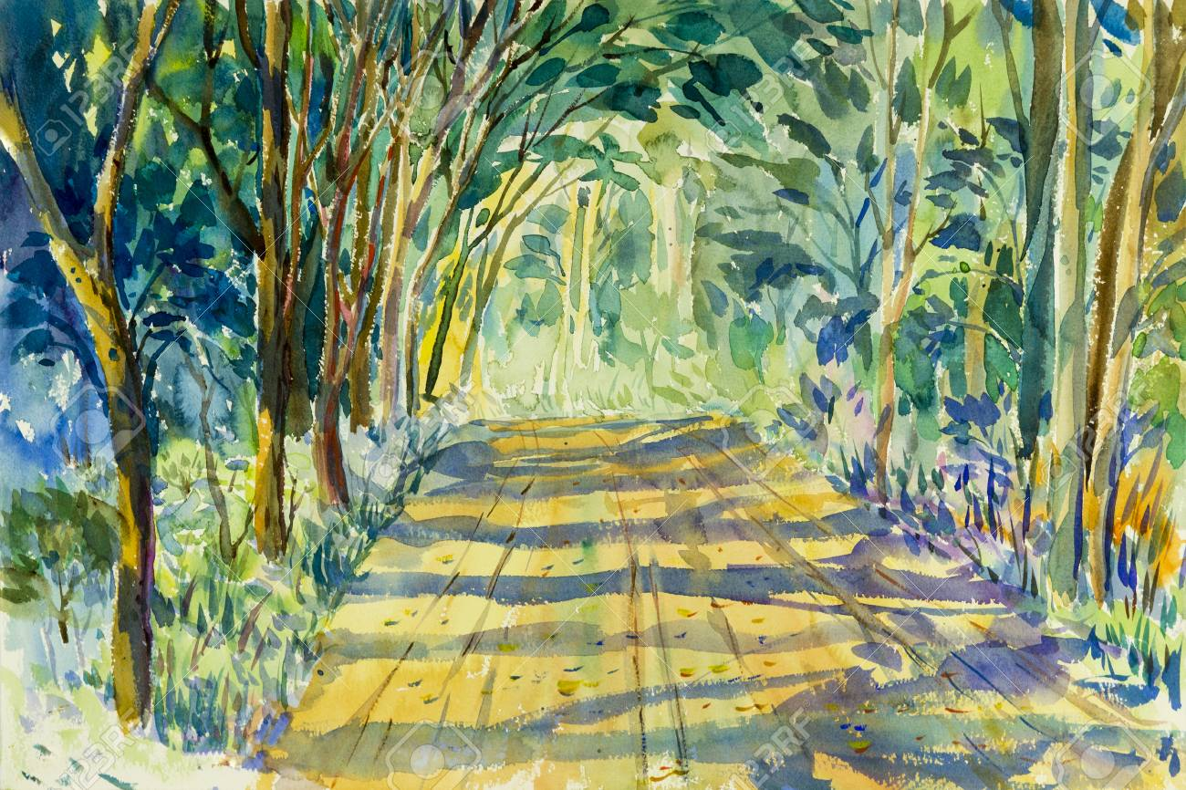 Painting Watercolor Landscape Original Colorful Of Tunnel Trees ...