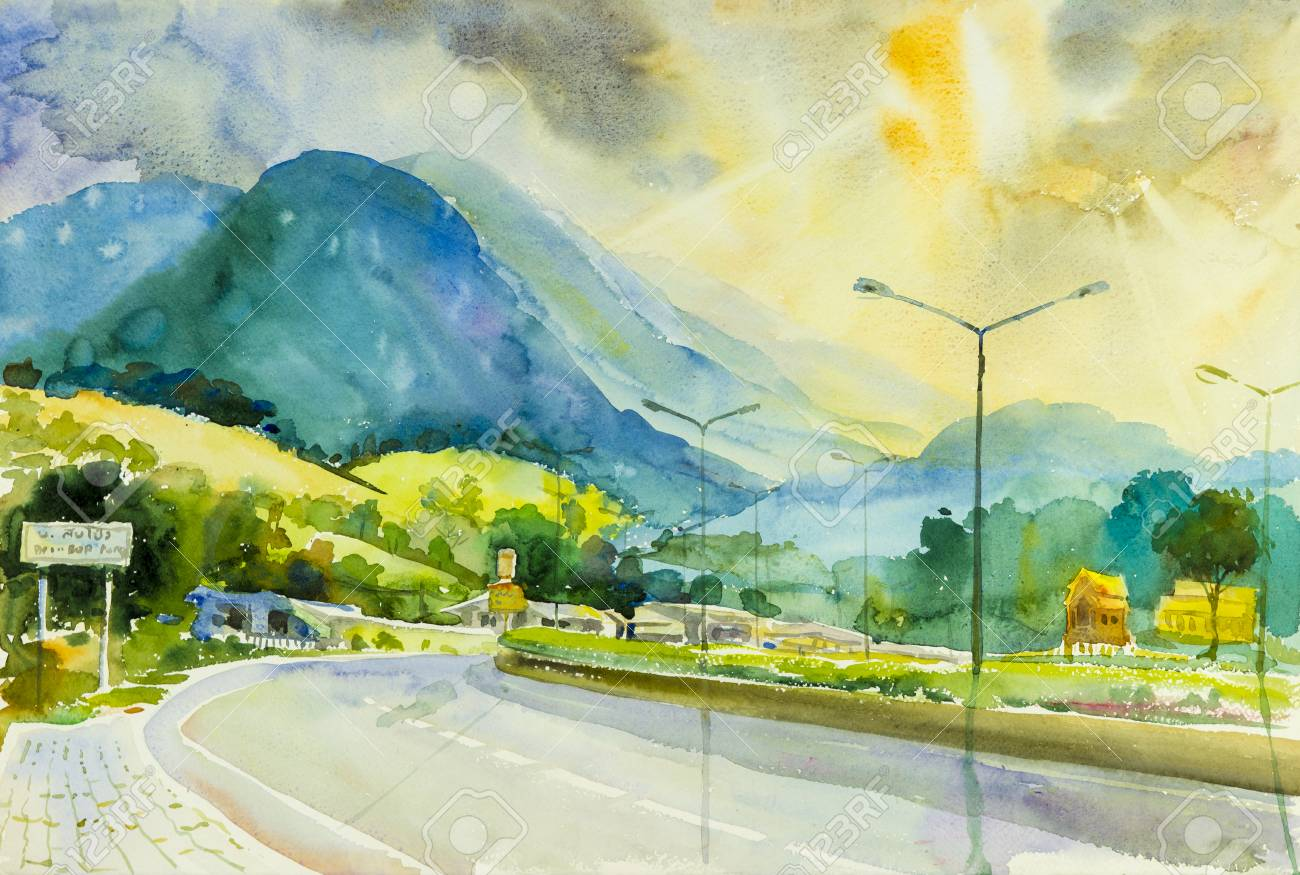 Painting Art Watercolor Landscape Original Colorful Of Road Stock Photo Picture And Royalty Free Image Image 86586138