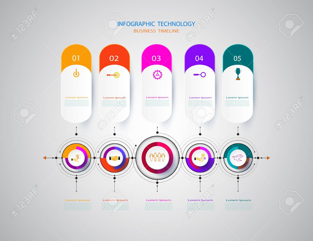 Infographics Design Template Timeline With 3D Paper And Technology ...